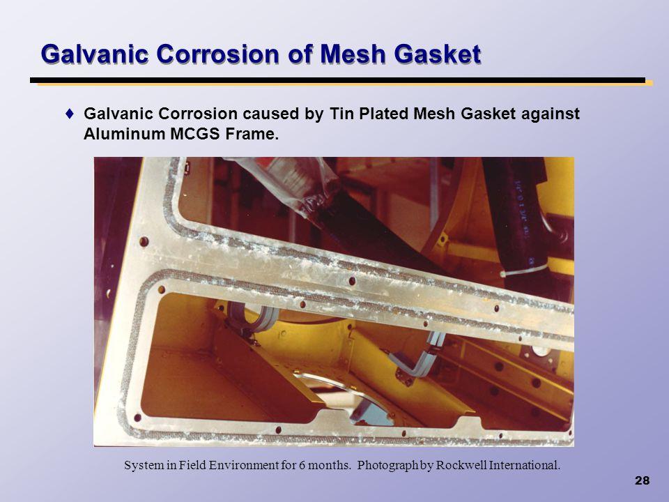 Galvanic Corrosion of Mesh Gasket