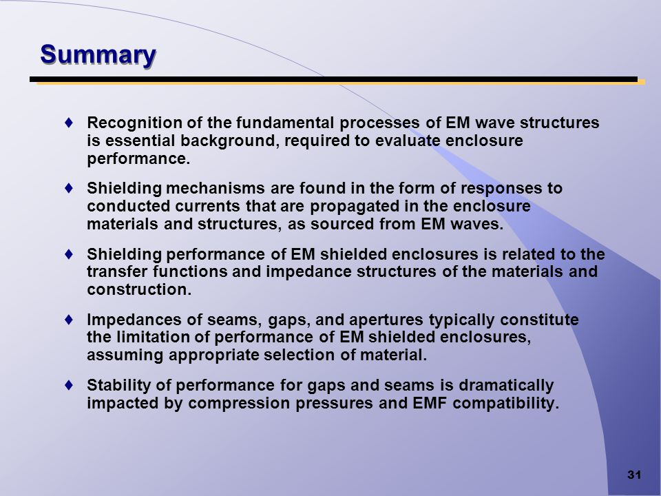 Summary Recognition of the fundamental processes of EM wave structures is essential background, required to evaluate enclosure performance.