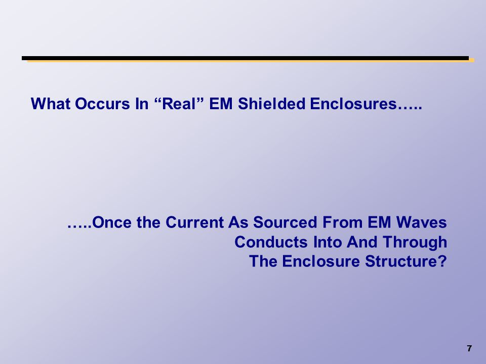 What Occurs In Real EM Shielded Enclosures…..