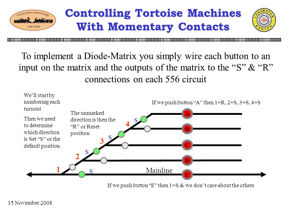 Controlling Tortoise Machines With Momentary Contacts