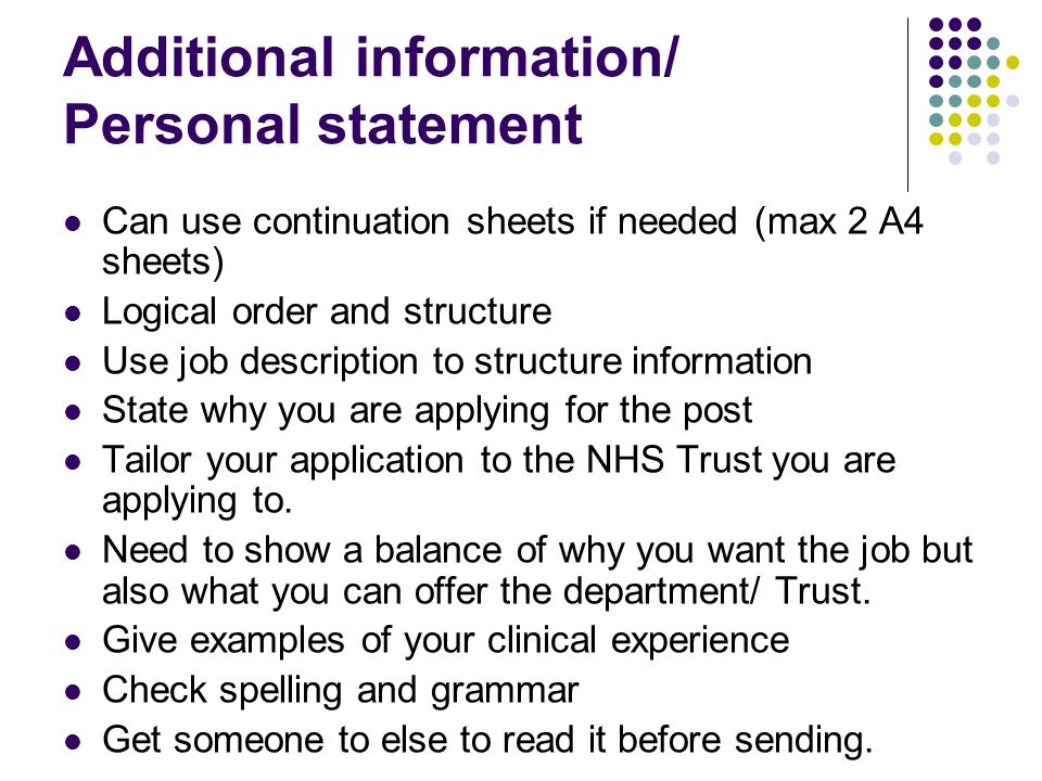 Additional information/ Personal statement