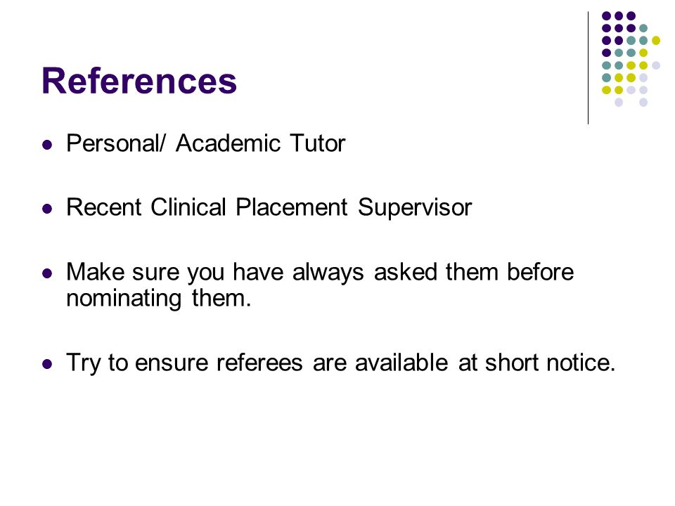 References Personal/ Academic Tutor