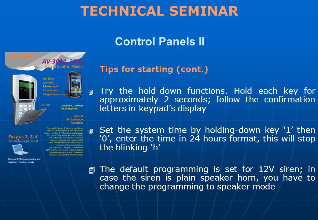 TECHNICAL SEMINAR Control Panels II