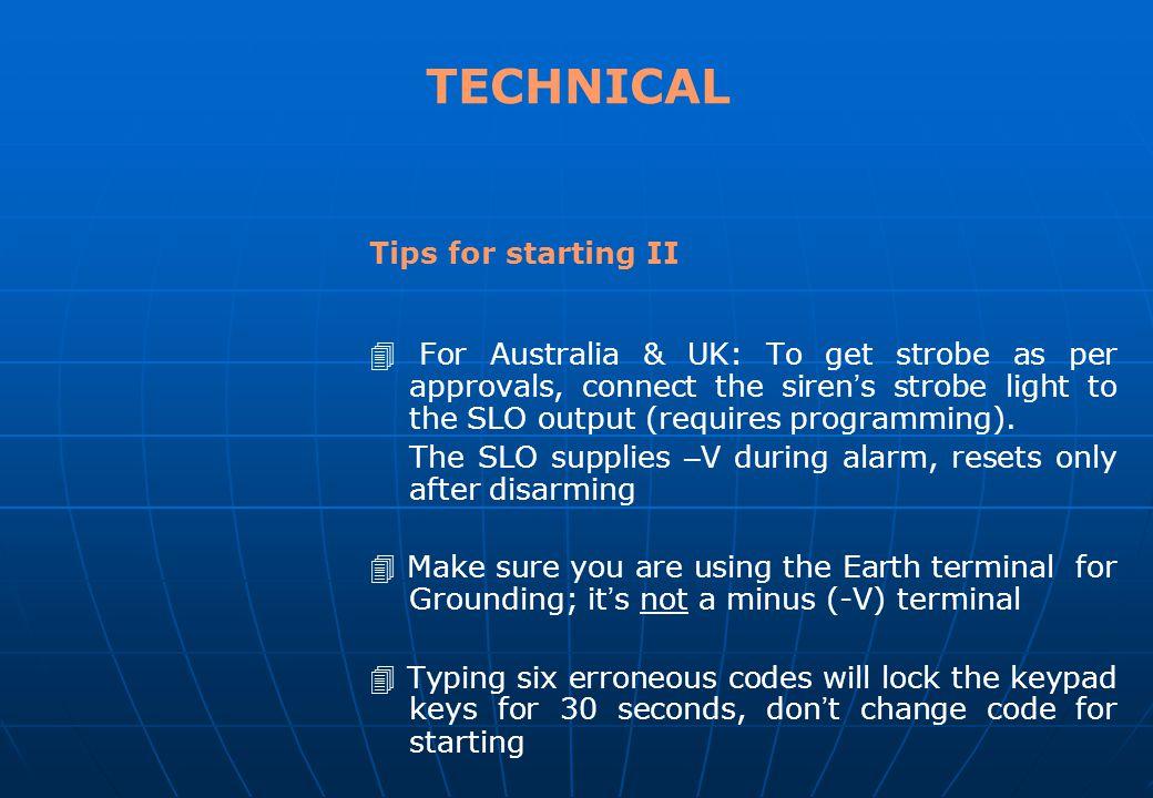 TECHNICAL Tips for starting II