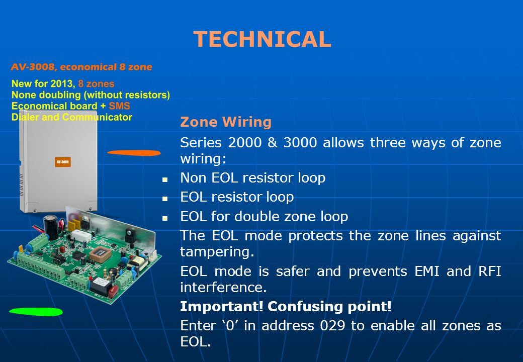 TECHNICAL Zone Wiring. Series 2000 & 3000 allows three ways of zone wiring: Non EOL resistor loop.