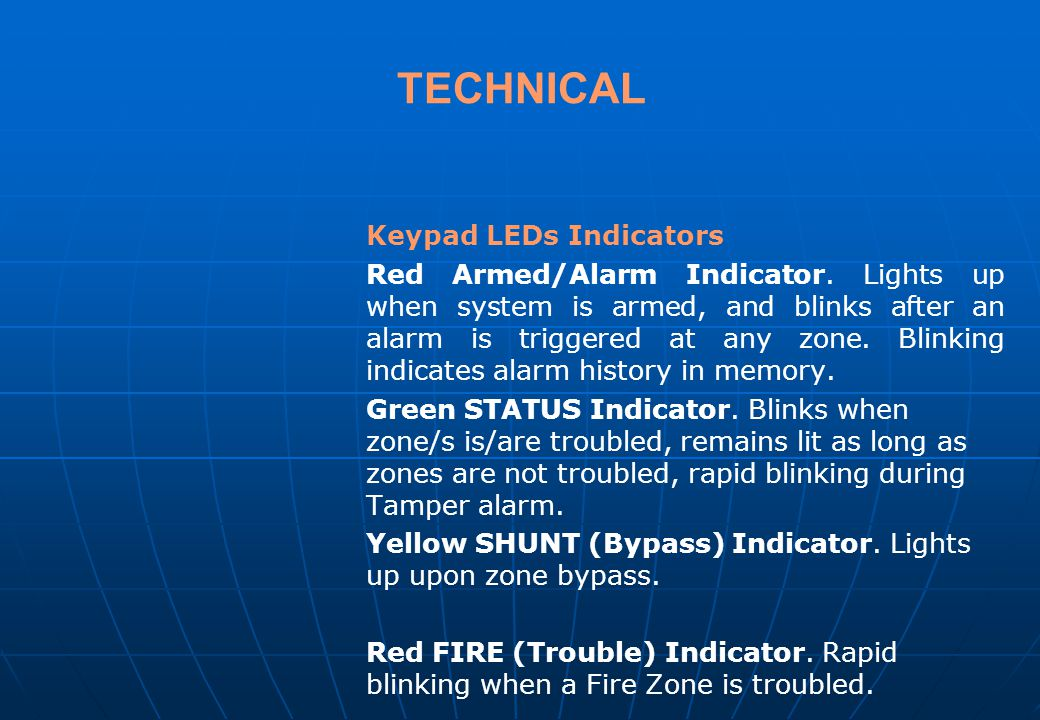TECHNICAL Keypad LEDs Indicators