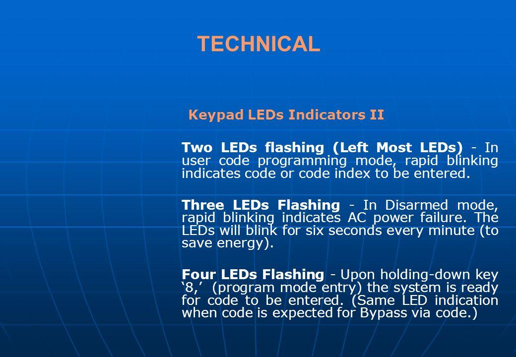 TECHNICAL Keypad LEDs Indicators II