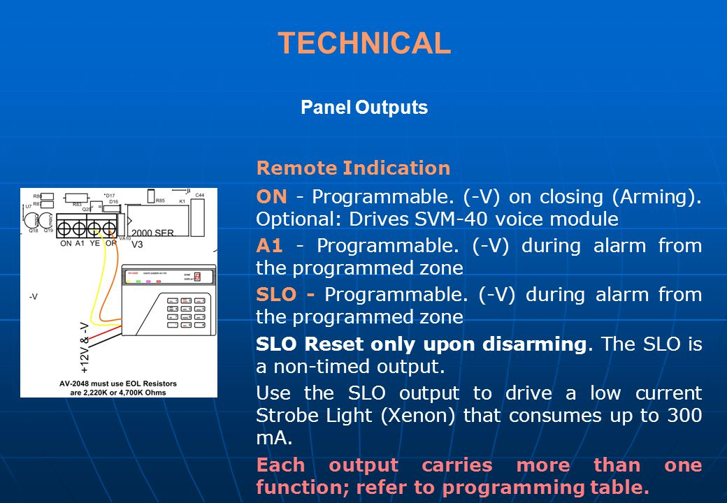 TECHNICAL Panel Outputs