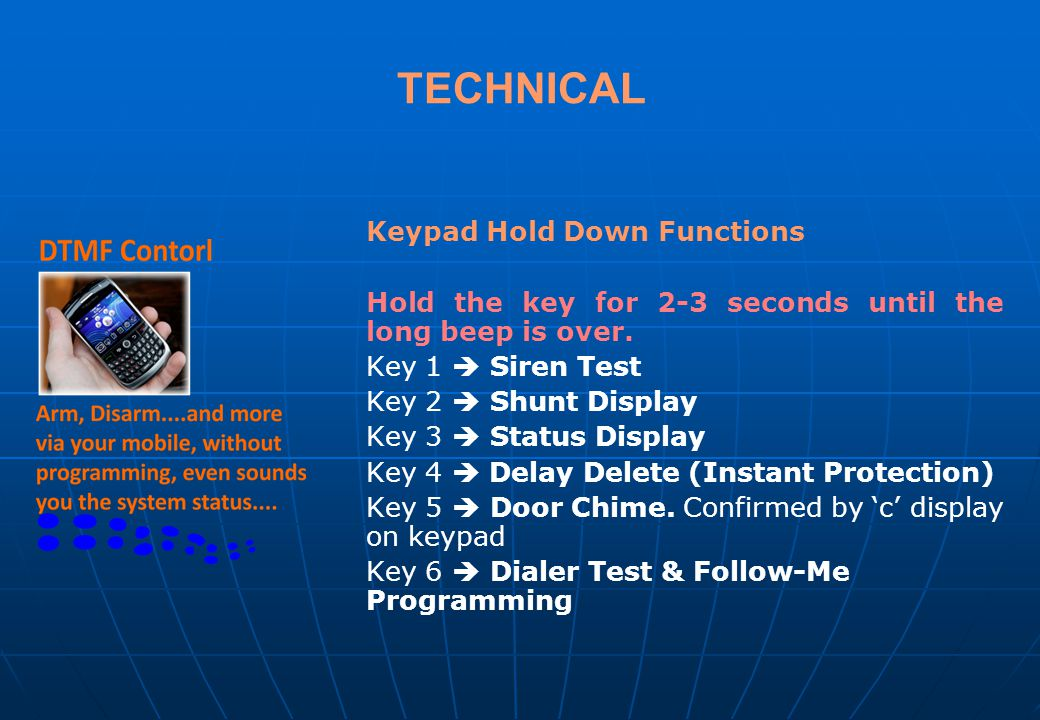 TECHNICAL Keypad Hold Down Functions