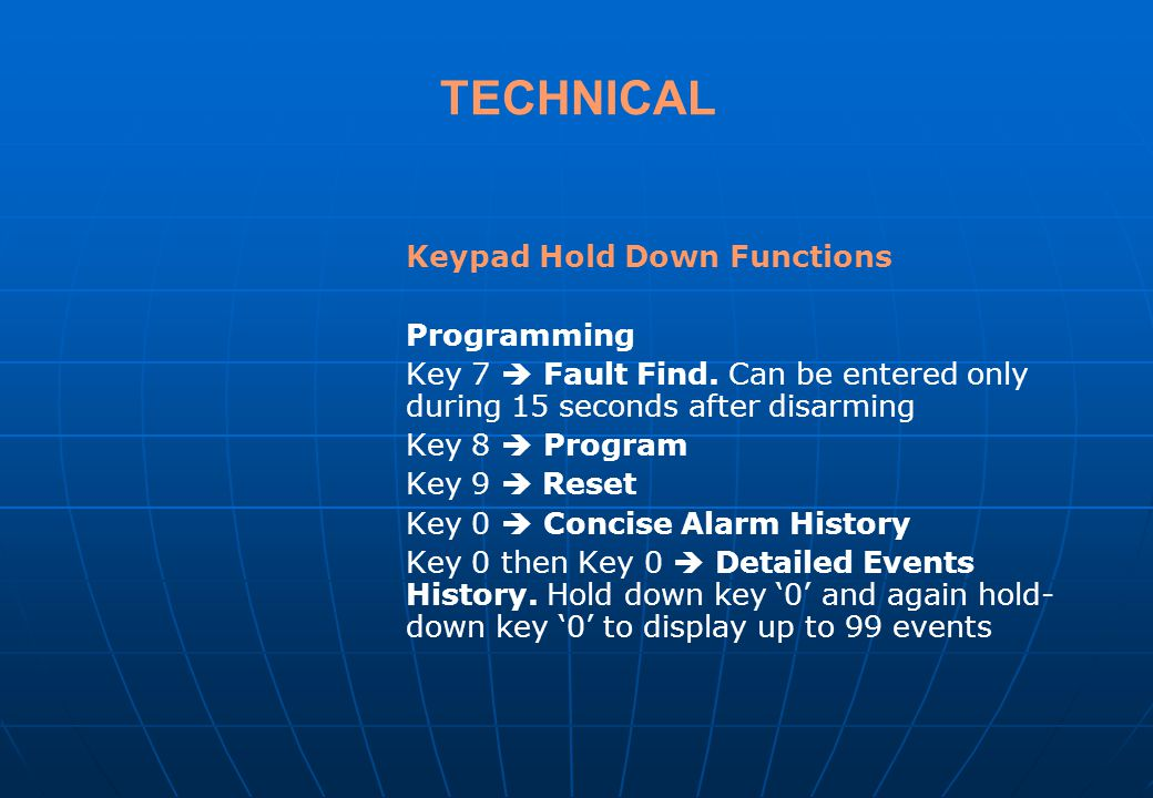 TECHNICAL Keypad Hold Down Functions Programming