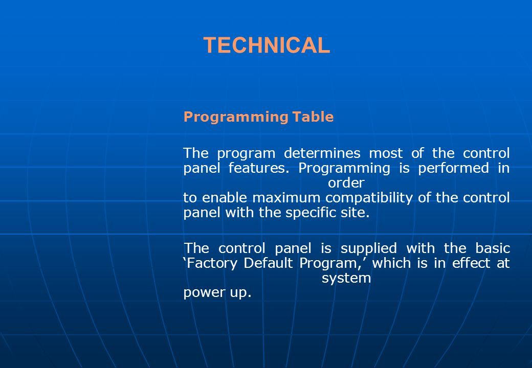 TECHNICAL Programming Table
