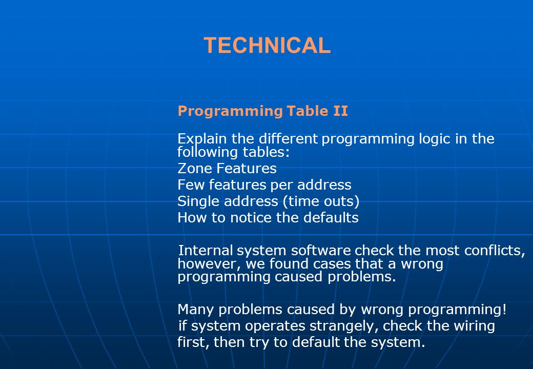 TECHNICAL Zone Features Few features per address