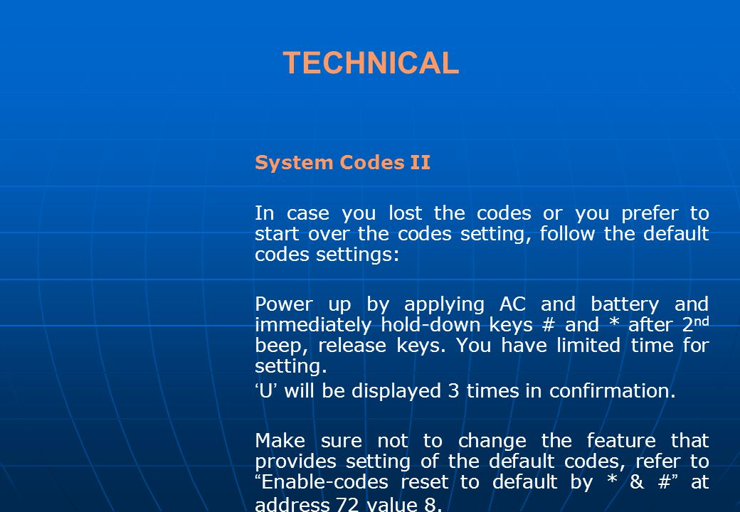 TECHNICAL System Codes II