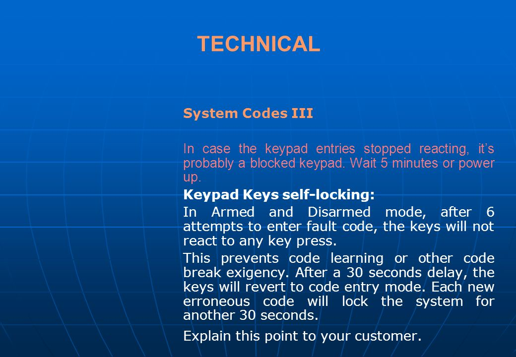 TECHNICAL System Codes III