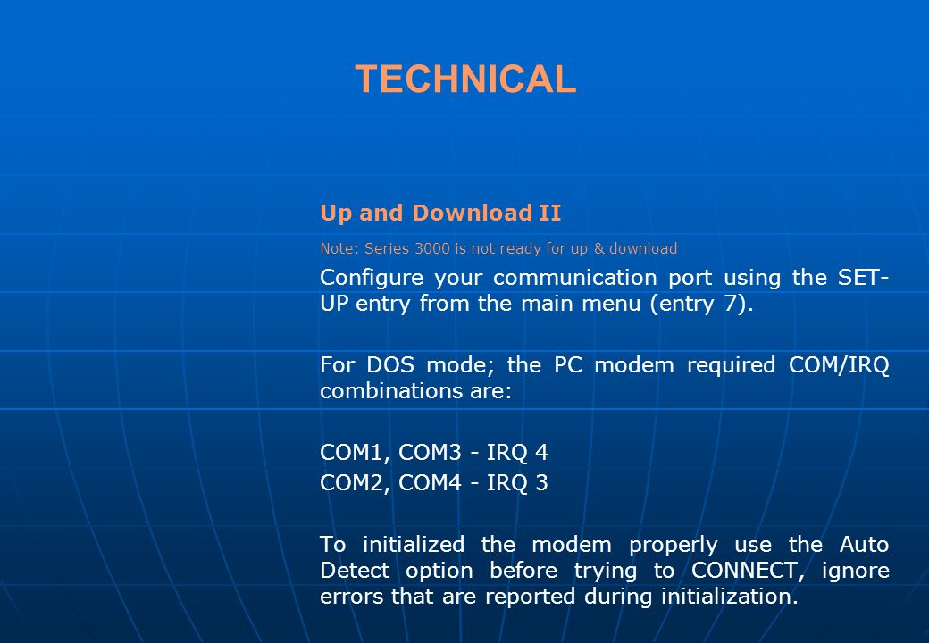 TECHNICAL Up and Download II