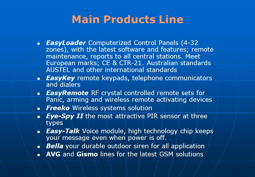 Main Products Line