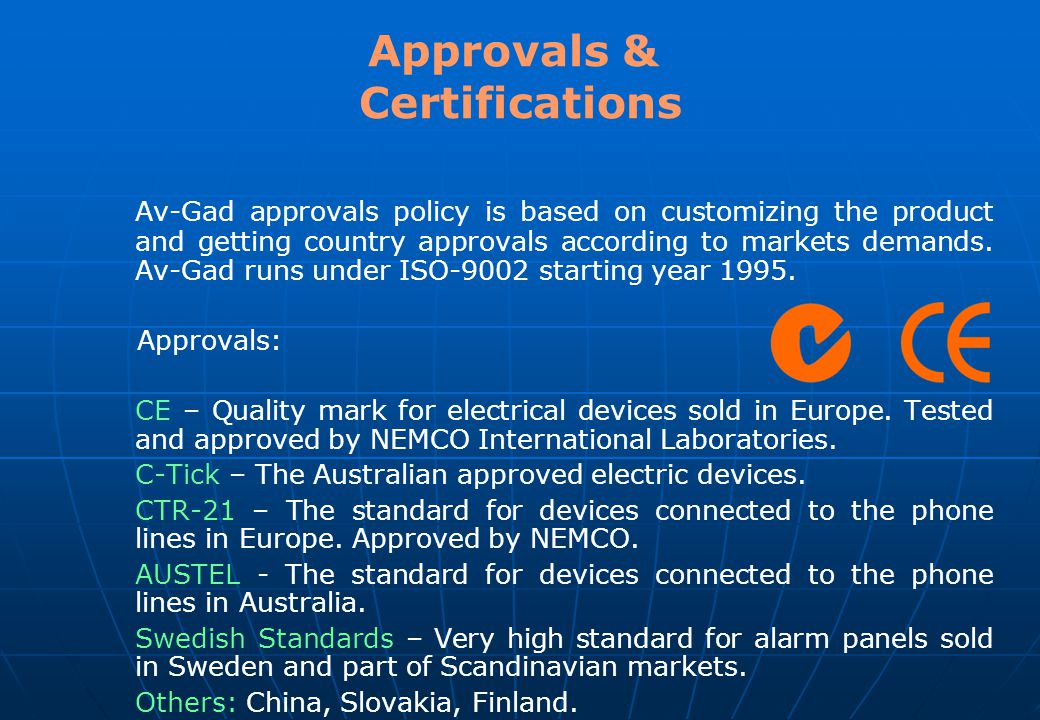 Approvals & Certifications