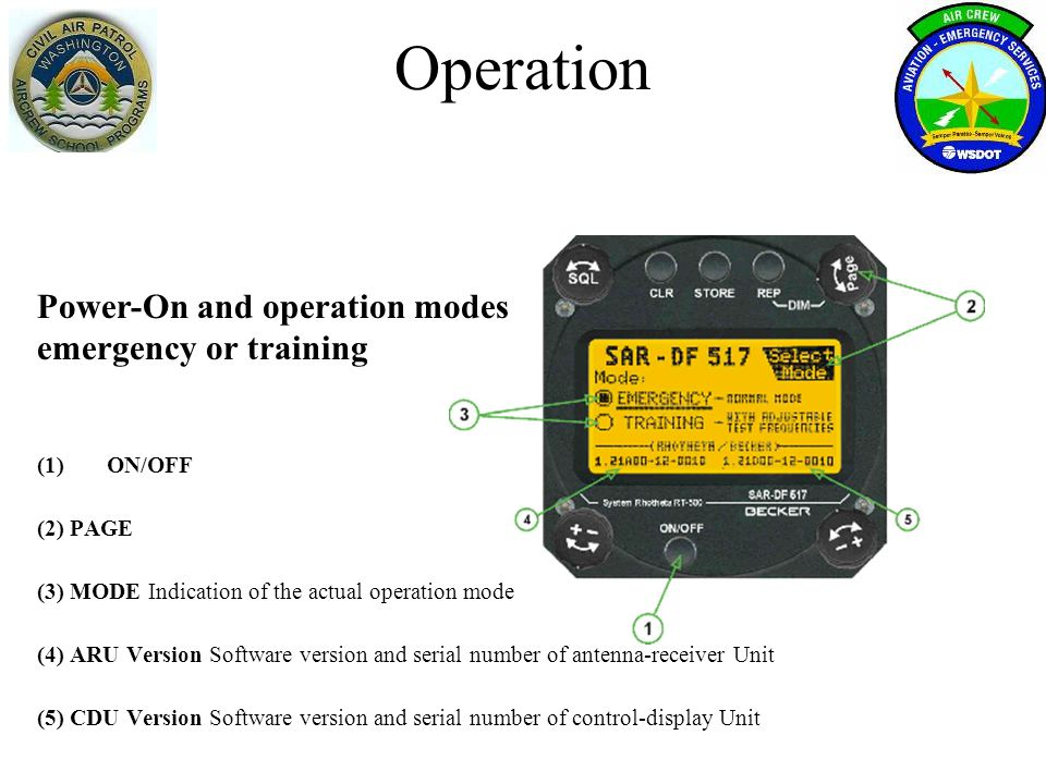 Operation Power-On and operation modes emergency or training ON/OFF