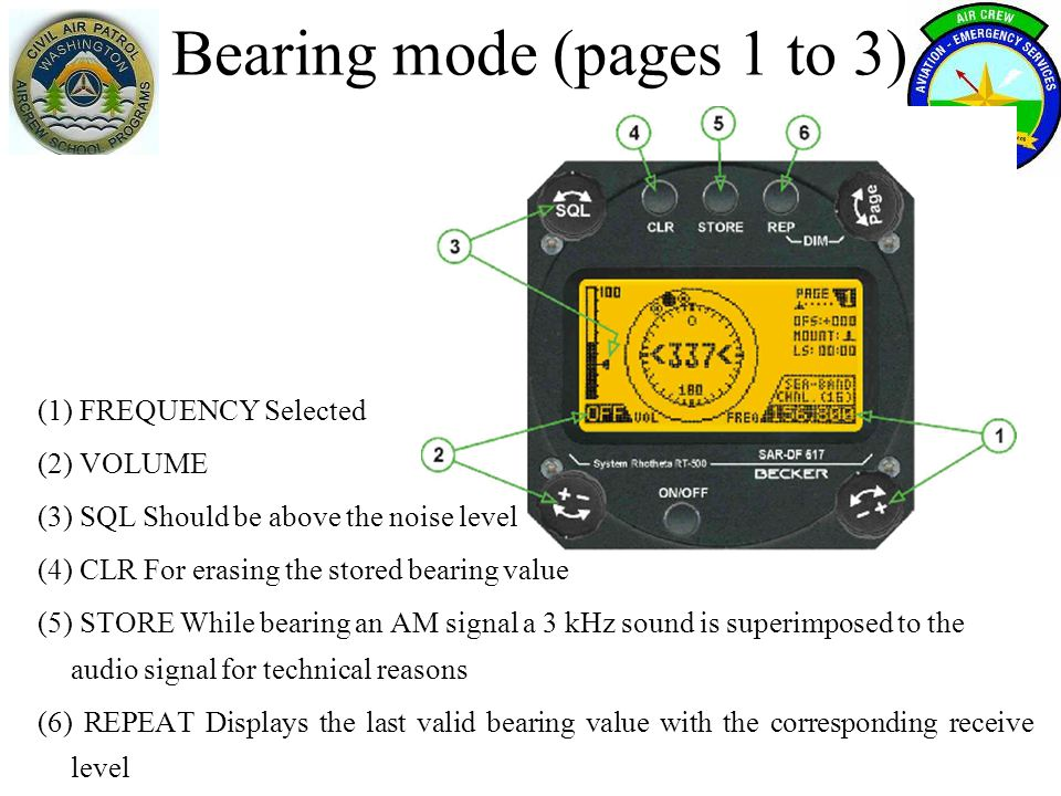 Bearing mode (pages 1 to 3)