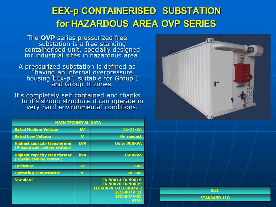 EEX-p CONTAINERISED SUBSTATION for HAZARDOUS AREA OVP SERIES