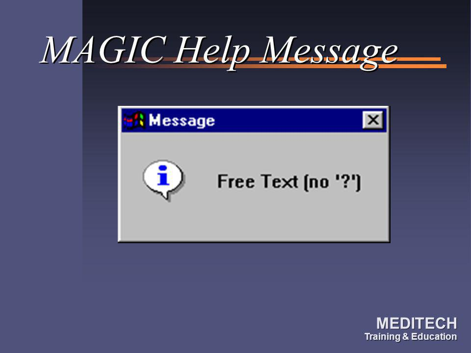 MAGIC Help Message