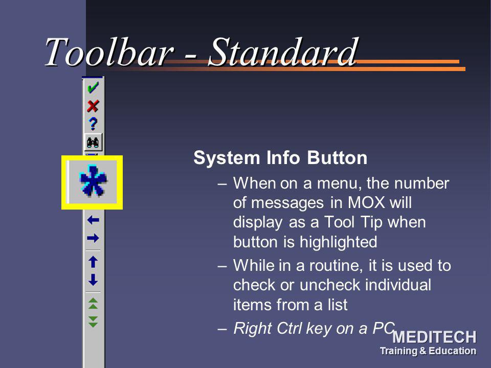 Toolbar - Standard System Info Button