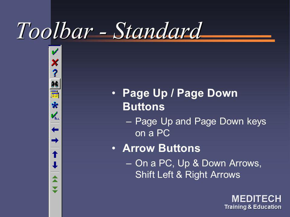 Toolbar - Standard Page Up / Page Down Buttons Arrow Buttons