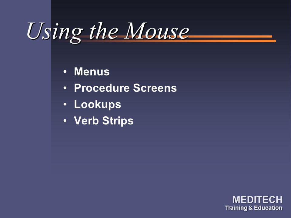 Using the Mouse Menus Procedure Screens Lookups Verb Strips