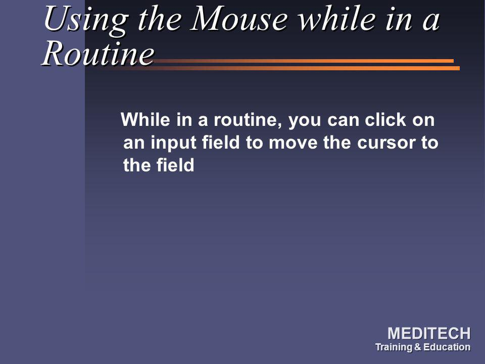 Using the Mouse while in a Routine