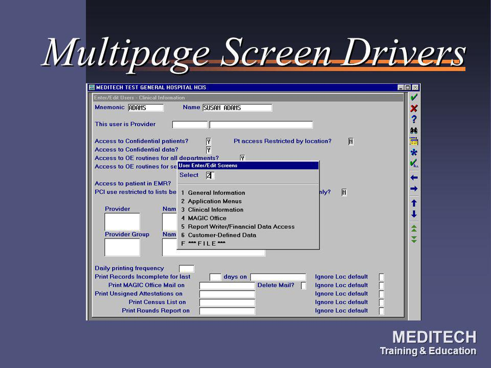 Multipage Screen Drivers