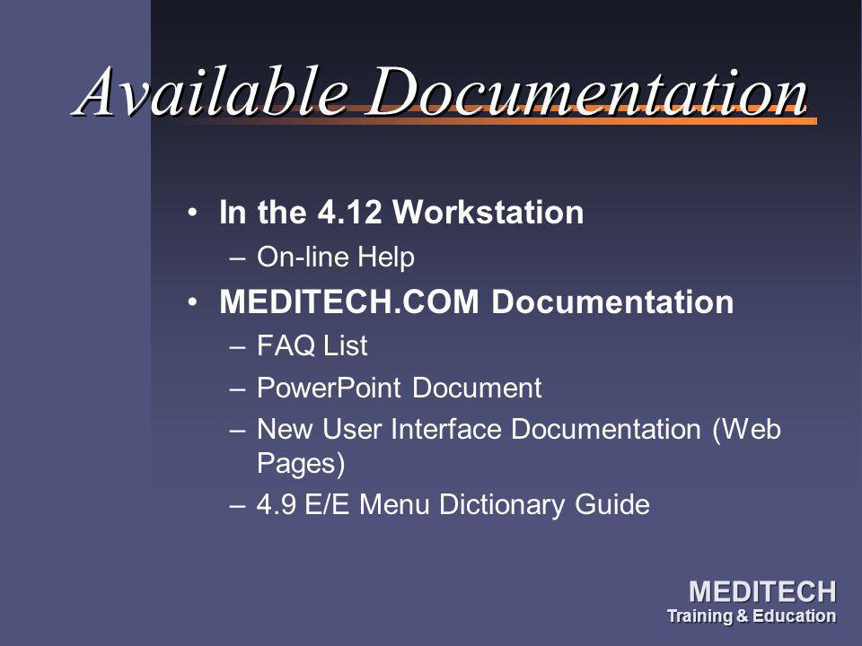 Available Documentation