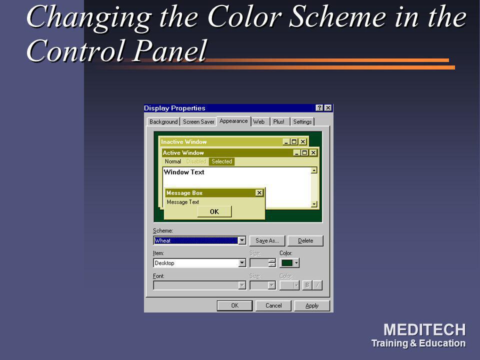 Changing the Color Scheme in the Control Panel