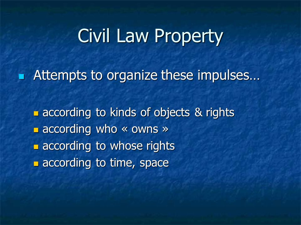 Civil Law Property Attempts to organize these impulses…
