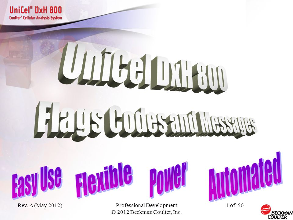 Unicel DxH 800 Flags, Codes, & Messages