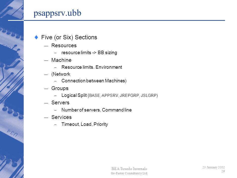 psappsrv.ubb Five (or Six) Sections Resources Machine Groups Servers