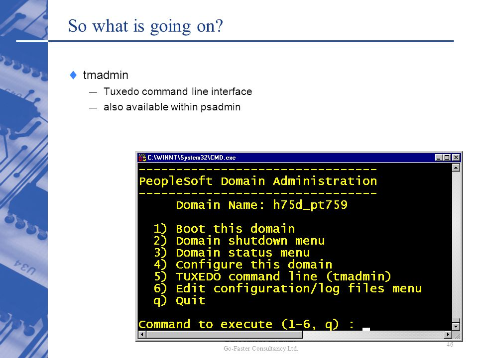 So what is going on tmadmin Tuxedo command line interface