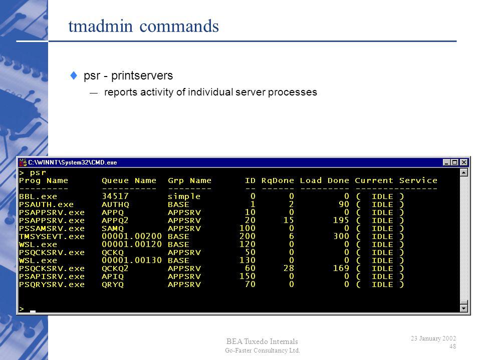 tmadmin commands psr - printservers