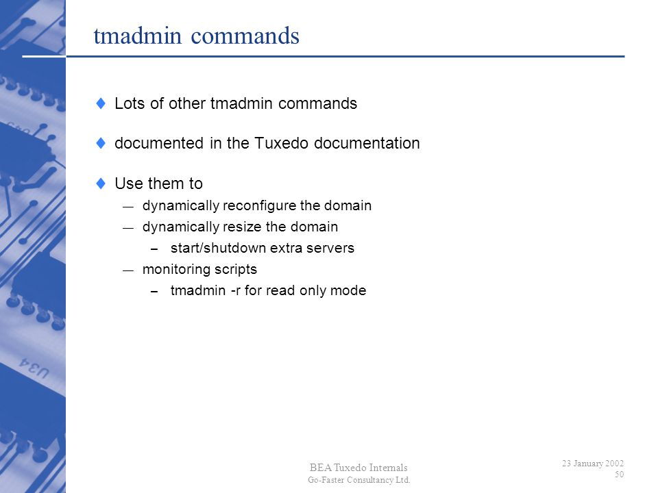 tmadmin commands Lots of other tmadmin commands