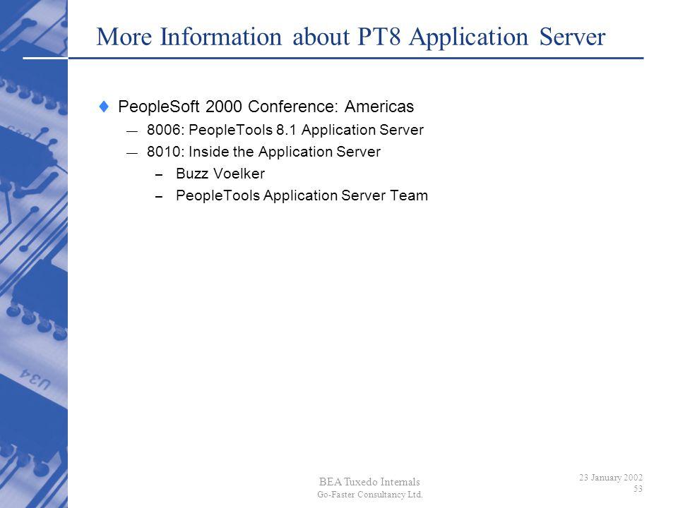 More Information about PT8 Application Server