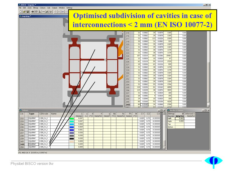 Optimised subdivision of cavities in case of interconnections < 2 mm (EN ISO 10077-2)