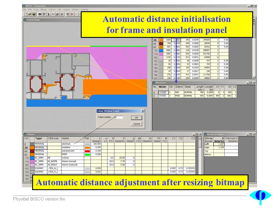Automatic distance initialisation for frame and insulation panel
