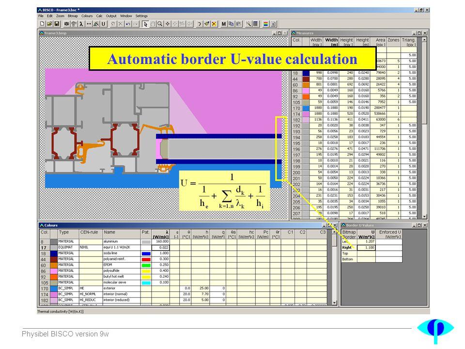 Automatic border U-value calculation
