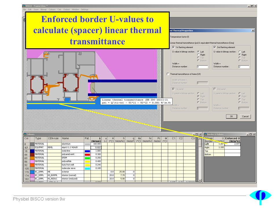 Enforced border U-values to calculate (spacer) linear thermal transmittance