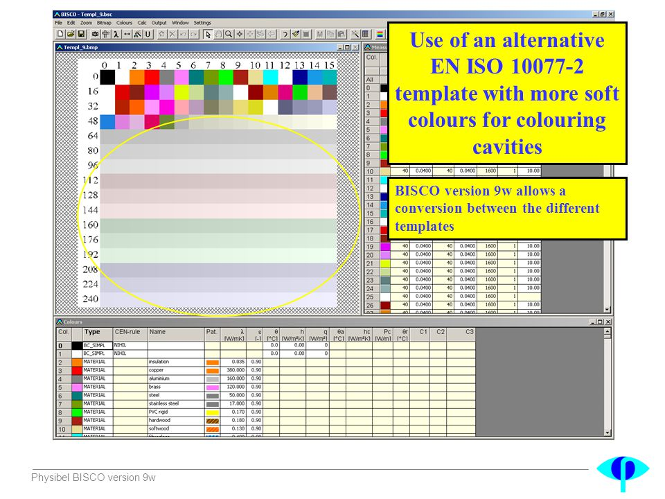 Use of an alternative EN ISO 10077-2 template with more soft colours for colouring cavities