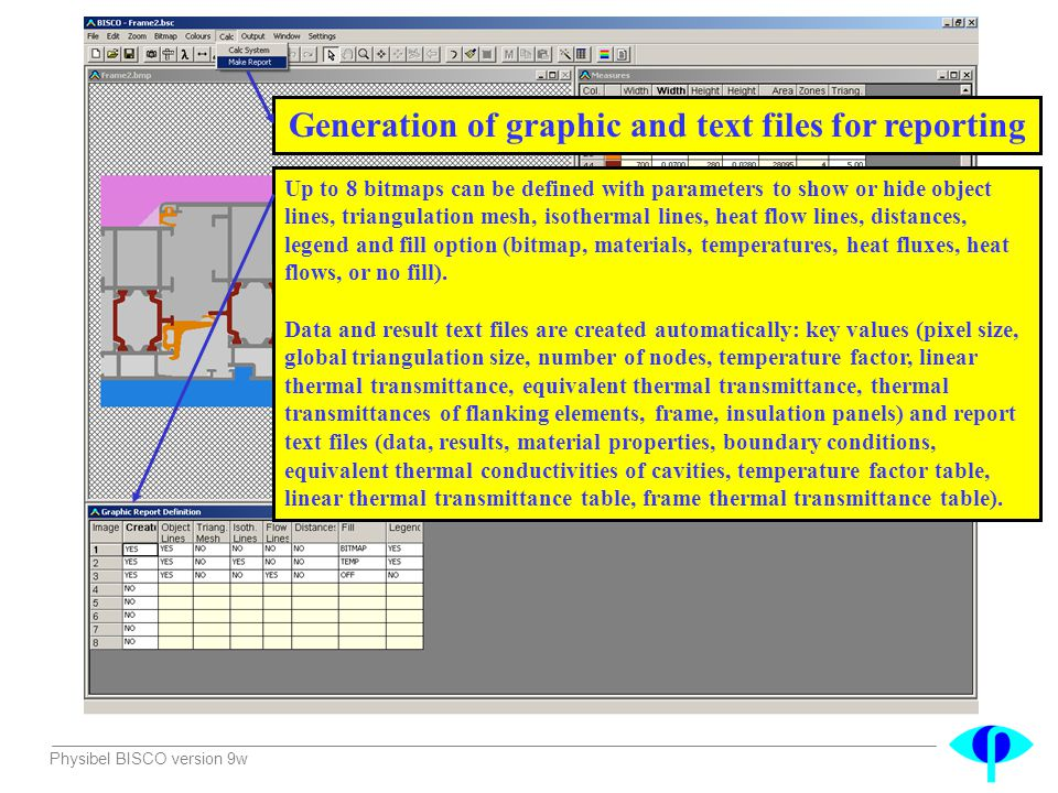 Generation of graphic and text files for reporting