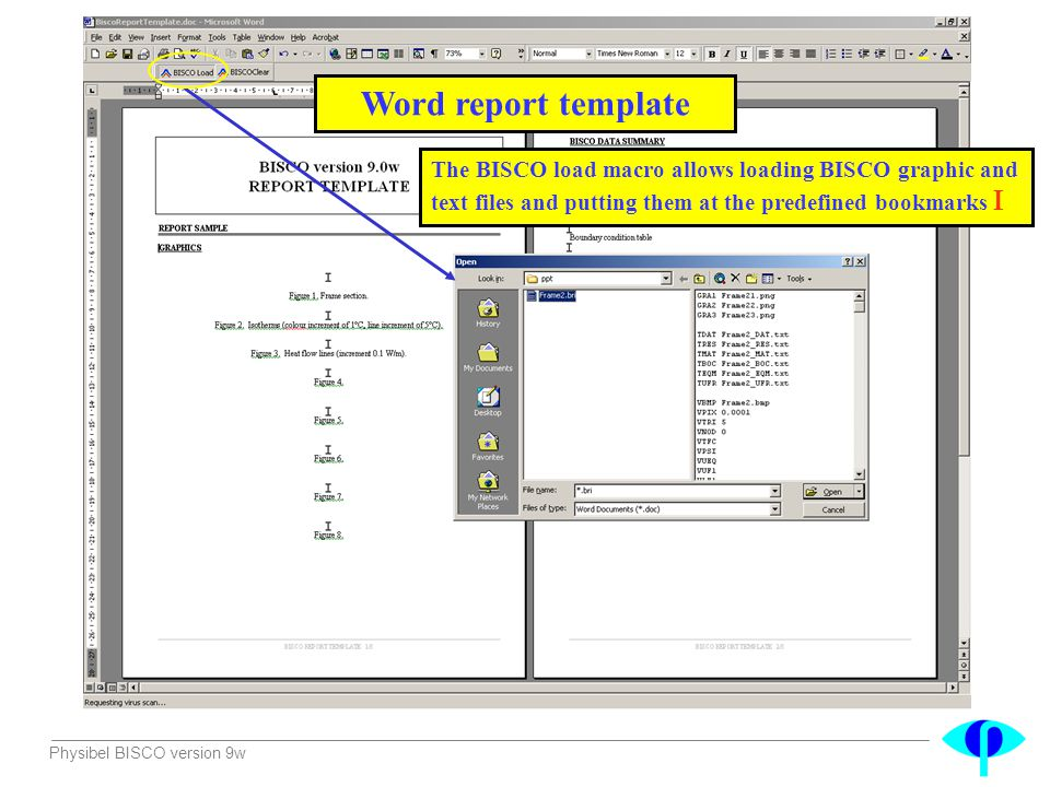 Word report template The BISCO load macro allows loading BISCO graphic and text files and putting them at the predefined bookmarks 