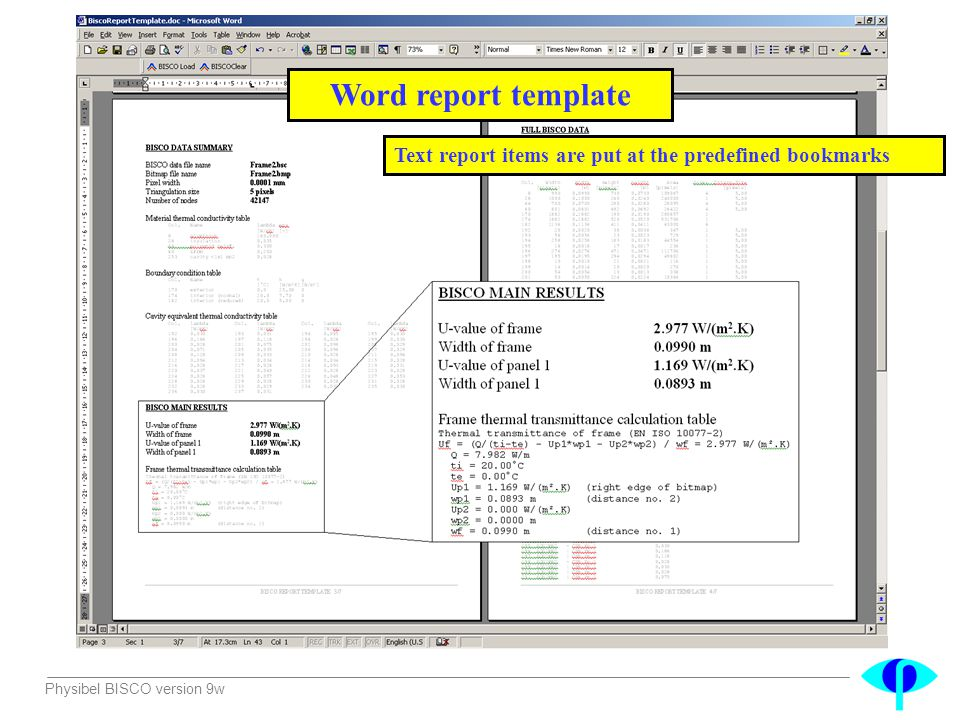 Word report template Text report items are put at the predefined bookmarks