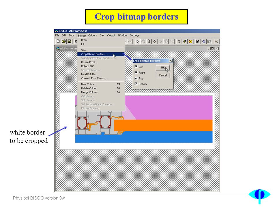 Crop bitmap borders white border to be cropped