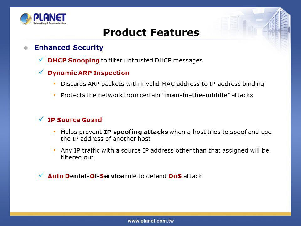 Product Features Enhanced Security