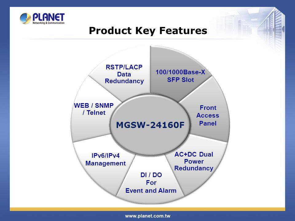Product Key Features MGSW-24160F RSTP/LACP Data Redundancy
